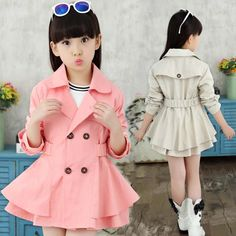 New Girls Jackets Double-breasted Trench Coat Good Quality Pink And Beige Girl Coat Children Outerwear Girls Jacket Fashion Kids, Girls Fashion Clothes, Fashion Outfits, Boys Dress Outfits, Little Girl Outfits, Baby Frocks Designs, Frock Design, New Girl, Pink