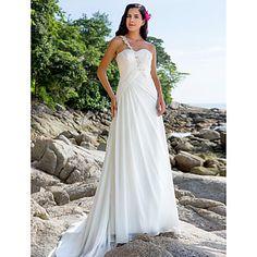 Classic & Timeless/Elegant & Luxurious Sheath/Column One Shoulder/Sweetheart Court Train Wedding Dress ( Chiffon ) – USD $ 199.99