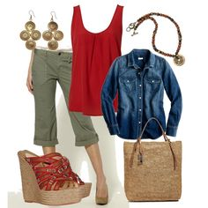 A fashion look from March 2012 featuring cowboy shirts, red top and red sole shoes. Browse and shop related looks. Capri Outfits, Casual Outfits, Cute Outfits, Fashion Outfits, Womens Fashion, Spring Summer Fashion, Spring Outfits, Outfit Summer, Olive Green Pants