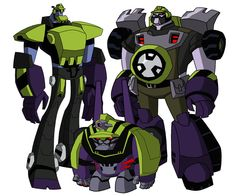 Transformers Animated Constructicons Scrapper, Mixmaster, and Dirtboss.