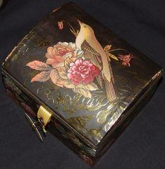 Vtg Rose/Bird/Robin Soap Music/Trinket/Gift Box/Jewellery/Trunk/Chest Gold/Brown