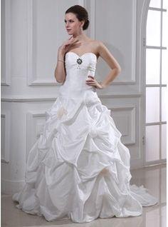 Ball-Gown Sweetheart Court Train Taffeta Wedding Dress With Ruffle Beadwork Flower(s) (002001719)