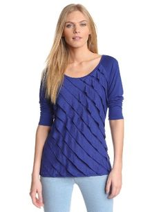 Amazon.com: AGB Women's Scoop Neck Ruffle Knit Top with Three Quarter Sleeve: Clothing