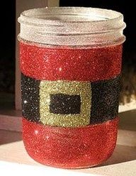 Holiday Crafts with Mason Jars | santa glitter mason jar | holiday crafts