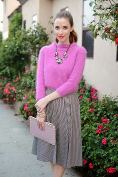 fuzzy pink sweater and statement necklace #mlovesm