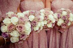 dusty rose, cream, burgundy wedding colors | Image by Lola Rose Photography. Wedding ... | Dusty rose, mauve, peac ...