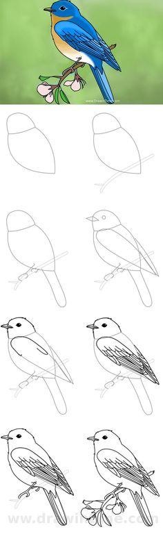 52 New Ideas for bird sketch art drawings Art Drawings For Kids, Pencil Art Drawings, Bird Drawings, Art Drawings Sketches, Animal Drawings, Easy Drawings, Drawing Drawing, Kids Drawing Lessons, Drawing Birds Easy