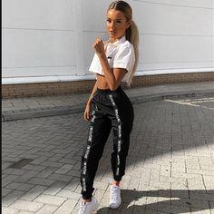 HOUZHOU Harem Pants Trousers Women Full Length Loose Jogger Mujer Sporting Elastic Waist Black Casual Combat Streetwear Fashion - - Source by Cute Lazy Outfits, Teenage Outfits, Teen Fashion Outfits, Edgy Outfits, Swag Outfits, Mode Outfits, Dance Outfits, Look Fashion, Fashion Pants