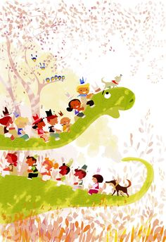 Let's go riding a Dino said the cowboys. #pascalcampionart. _But...where are we going to find hats for everybody ?