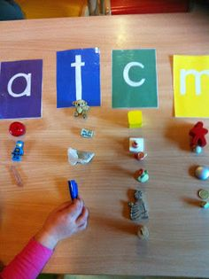 Have an assortment of small objects, and kids identify and match them with their beginning sound