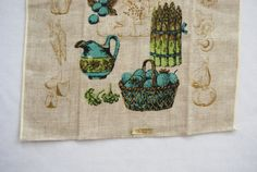 Linen Dish Towel With Vegetable Pattern by HappyCloudVintage, $8.00