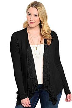 9e2fb99926 Plus Womens Lace Open Drape Plus Size Cardigan Reg ShoulderBlack *** Click  image for more details.