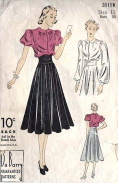 Blouse day wear short sleeve puff shirt skirt high waist full 40s era vintage fashion sewing pattern color illustration red pink black white gown evening
