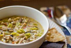 Green chile chicken soup with mushrooms and corn by @Michael Dussert Stillwell Kitchen mjskitchen.com