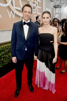 TV personality Seth Meyers and Alexi Ashe arrive to the 72nd Annual Golden Globe Awards held at the Beverly Hilton Hotel. via StyleListCanada