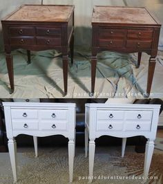 Antique End Tables – Repainted White
