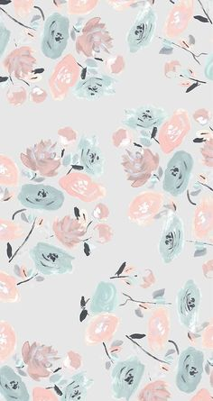 pastel floral pattern iPhone wallpaper