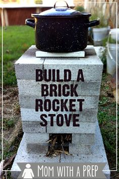 Mom with a PREP - Building a Brick Rocket Stove for your backyard gives you an alterntaive cooking source just in case. This is a quick and easy project to do this weekend! >> I love rocket stoves! Emergency Preparation, Survival Prepping, Emergency Preparedness, Survival Skills, Survival Supplies, Survival Hacks, Survival Shelter, Emergency Supplies, Urban Survival