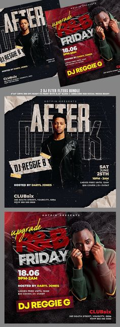 """Dj Flyer Bundle include 2 modern psd flyer that will be the perfect promotion for your upcoming event, podcast or Night Club party ! All elements are in separate layers and all text is editable! 4 PSD Files 4""""x4"""" Ready to print + 1080×1080 Rgb Social Media Ready"""