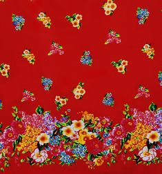 Fabric Russian Red in a in a Folk Floral Double by HeartsandFound