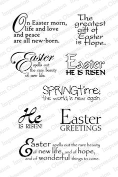 Impression Obsession Rubber Stamps On Easter Morn Easter Card Sayings, Easter Verses, Easter Messages, Easter Quotes, Easter Religious, Verses For Cards, Card Sentiments, Making Greeting Cards, Easter Printables