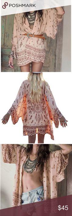 Desert Angel Boho Kimono Sand. OS fits XS-M. Slightly oversized. Fun Boho print with back details. Accessories Scarves & Wraps