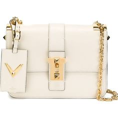 Valentino Garavani 'New Glam' shoulder bag (€3.155) ❤ liked on Polyvore featuring bags, handbags, shoulder bags, white, white purse, leather handbags, valentino handbags, white leather shoulder bag and white handbags