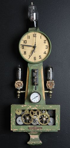 A working clock sculpture made from vintage clock mechanisms, turned wood, and various idiosyncratic treasures.