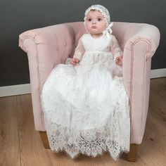 Victoria Heirloom Christening Gown - Vintage Girls lace Baptism gown – Baby Beau and Belle Christening Gowns For Girls, Christening Outfit, Baptism Dress, Baptism Party, Baby Christening, Lace Silk, Ivory Silk, Baby Blessing Dress, Girls Dresses