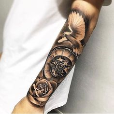 Our Website is the greatest collection of tattoos designs and artists. Find Inspirations for your next Clock Tattoo. Search for more Tattoos. Tattoo Arm Designs, Clock Tattoo Design, Forearm Tattoo Design, Forearm Tattoo Men, Dove Tattoos, Forarm Tattoos, Body Art Tattoos, Hand Tattoos, Skull Tattoos