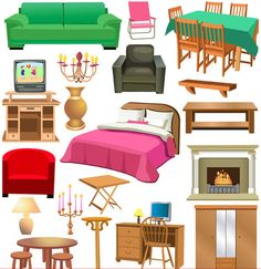Furniture - a HUGE hit for Encores shoppers!  The South sale moves more furniture and home decor than any other Encores sale.  We want your furniture! Garden Clipart, House Clipart, Picture Cards, Crafts To Do, Crafts For Kids, Clip Art, Baby Learning, Doll Furniture, House Rooms