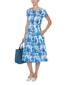 Donna Blue Toile Stretch Cotton Poplin Dress | Samantha Sung | Halsbrook