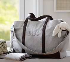 Grey Herringbone Classic Diaper Bag Good unisex diaper bag that Lok probably wouldn't be embarrassed carrying :) Monogram 'RAO'. Black Diaper Bag, Boy Diaper Bags, Diaper Backpack, Eddie Bauer, Baby Kids, Baby Boy, Baby Gadgets, Twin Babies, Baby Accessories