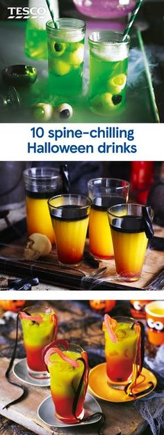 10 spine-chilling Halloween drinks Planning a Halloween party? Get Halloween drinks ideas with our 10 spine-chilling drinks recipes for creepy cocktails, spooky smoothies and more. The perfect Halloween recipes to get your party going. Halloween Cocktails, Halloween Snacks, Entree Halloween, Halloween Mono, Hallowen Food, Hallowen Party, Halloween Bebes, Hallowen Ideas, Halloween School Treats