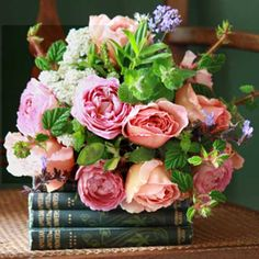 Extraordinary blossoms atop a pile of vintage books. Stunning! http://cowparsley.blogspot.com/.