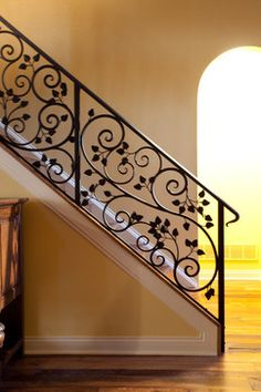 Staircase Remodel Design Ideas, Pictures, Remodel and Decor Staircase Railing Design, Modern Stair Railing, Wrought Iron Stair Railing, Home Stairs Design, House Gate Design, Modern Stairs, Interior Stairs, Balcony Grill Design, Staircase Remodel