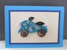 Motorcycle gift card, handmade motorbike card,  Man's Birthday Card, Card for Boy, cards for men, quilling card motorbike, quilled motorbike
