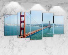 Golden Gate Bridge San Francisco-Large 3 Pièce Toile Imprimer Wall Art