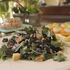 Kale, Roasted Celery Root, Deviled Eggs and Spiced Almond Salad By Damaris Phillips