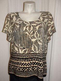 COLDWATER CREEK Top 1X (16W-18W) Cream Brown Black Multi Artsy Travel Knit Shirt #ColdwaterCreek #Blouse #Casual