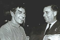 Leonard Nimoy and Gene Roddenberry in a candid photo taken on the set of The Cage during the filming of the first pilot in December 1964.