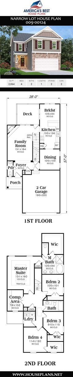 This Narrow lot home design features a traditional layout with ceilings. Plan also delivers sq., 4 bedrooms, 2 bathrooms, the master on the second floor, and a 2 car garage. Hall Bathroom, Bathrooms, Narrow Lot House Plans, Flex Room, Garden Tub, Window View, Traditional Interior, City Living, Car Garage
