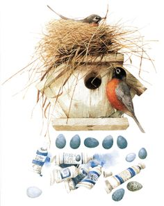 . . . the art of Marjolein Bastin ~ love her birds, they always have such character.