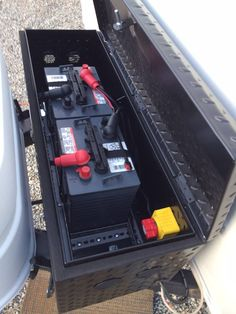 """Needing something to do before """"camping season"""" started, I decided to upgrade my power supply on our """"new to us"""" trailer. I removed the single 12 volt battery and I picked up 2 6 Cargo Trailer Conversion, Cargo Trailer Camper, Travel Trailer Camping, Cargo Trailers, Utility Trailer, Truck Camping, Travel Trailers, Trailer Build, Camping Gear"""