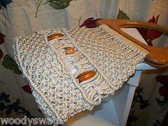 Boho Hippie Beige Macrame Beads Crochet Woven Tote Bag Purse Handbag Wood Handle | eBay
