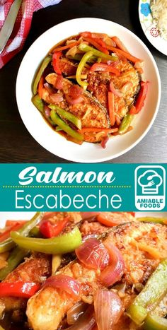 Salmon Escabeche is an easy weekday dinner or served on special occasions. With the mild flavor of salmon plus succulent sauce, this dish is a winner! Salmon Recipes, Fish Recipes, Seafood Recipes, Asian Recipes, Vegetarian Recipes, Ethnic Recipes, Fish Escabeche, Escabeche Recipe, Japanese Street Food