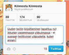 Mikroblogipalvelu Twitter on ollut uudistusten alla viime aikoina. Ensin julkaistiin palvelun suomenkielinen versio ja tällä viikolla myös Kiinnostu-kirjan Twitter-tili sai uuden ulkoasun. Blogissa on tiiviit ohjeet siihen, mistä kaikki oleellinen Twitterissä nyt löytyy.