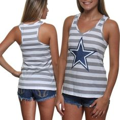 Dallas Cowboys Ladies Camellia Racerback Tank Top - Gray/White