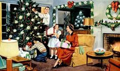 Happy family at Christmas. Detail from a 1950 General Electric Ad. Christmas Style, Merry Christmas, 1950s Christmas, Christmas Scenes, Vintage Christmas Cards, Vintage Holiday, Christmas Pictures, White Christmas, Xmas