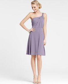 Jersey One Shoulder Bridesmaid Dress | Ann Taylor - love this color and the style!
